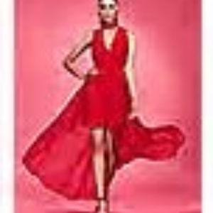 NY&Co Red XL Sleeveless Mini Dress w Sheer Overlay